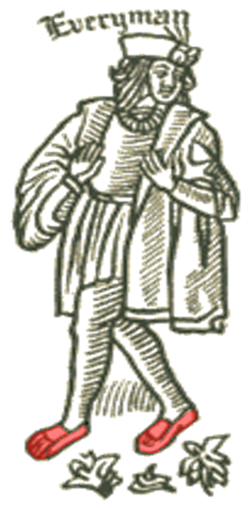 A 16th century woodcut of an Everyman figure