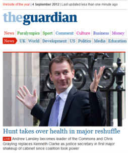 Jeremy Hunt gesticulating on the Guardian newspaper website