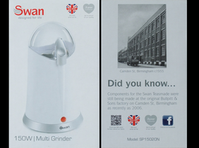 Swan coffee grinder packaging