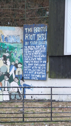 Mural depicting the Reform Bill riots in Bristol, 1831