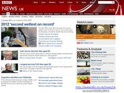 BBC news on 3 January 2013